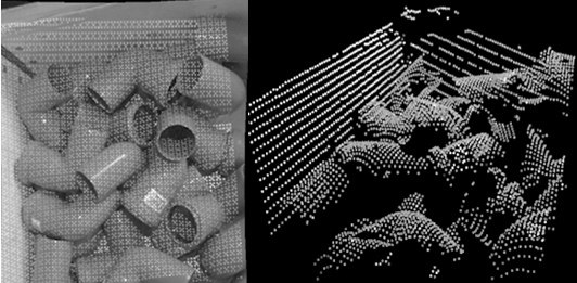 Fig. 2 – Scanner result from a tool mounted scanner. At left a 2D image of the scanning points in the scene. At right a perspective view of the resulting point cloud.
