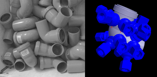 Fig. 4 – Left: Plastic angle tubes lying at random, right: specification of suitable suction cup grips.