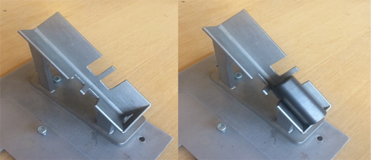 Fig. 5 – Box corner type intermediate fixture for round objects, shown without (left) and with (right) a part